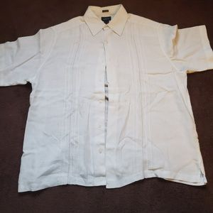 100% linen Claiborne collar shirt XL white
